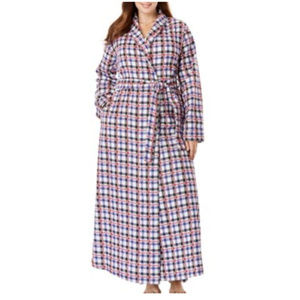 plus size FLANNEL belted ROBE 1X 22 24 plaid 78i!